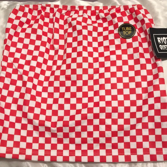f769c51dd23 Red checkered tube top